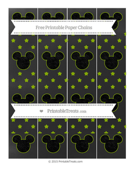 Free Apple Green Star Pattern Chalk Style Mickey Mouse Paper Chains