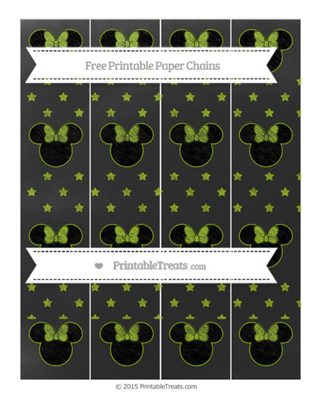 Free Apple Green Star Pattern Chalk Style Minnie Mouse Paper Chains