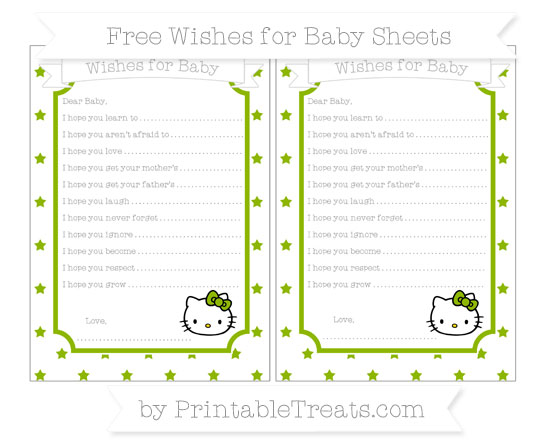Free Apple Green Star Pattern Hello Kitty Wishes for Baby Sheets