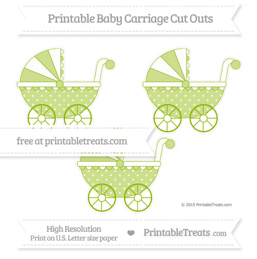 Free Apple Green Star Pattern Medium Baby Carriage Cut Outs