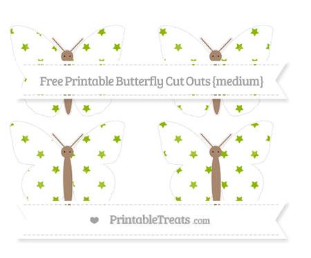 Free Apple Green Star Pattern Medium Butterfly Cut Outs