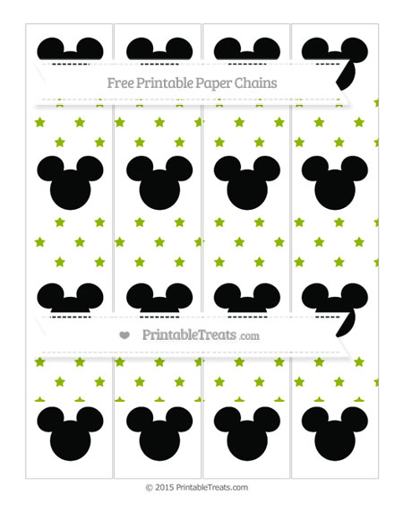 Free Apple Green Star Pattern Mickey Mouse Paper Chains