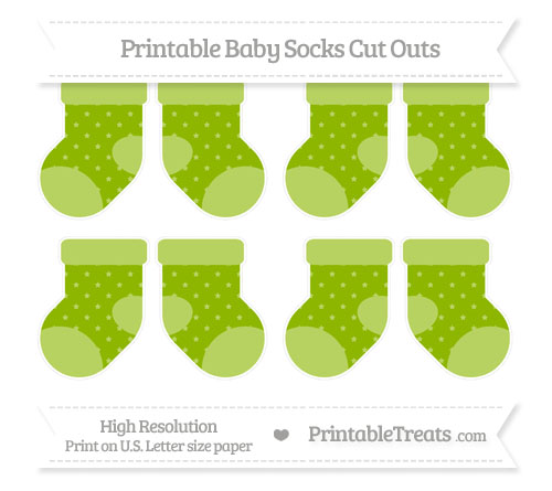 Free Apple Green Star Pattern Small Baby Socks Cut Outs