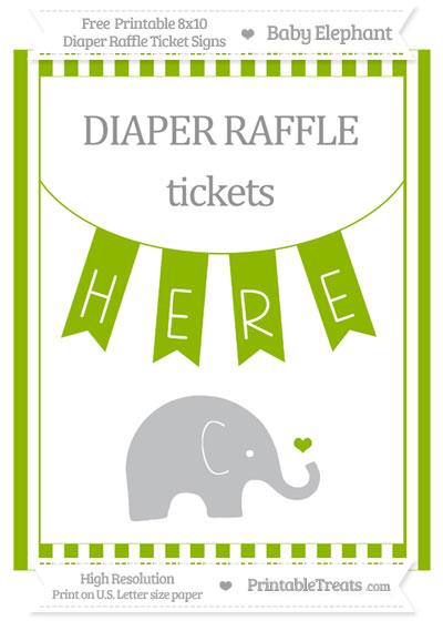 Free Apple Green Striped Baby Elephant 8x10 Diaper Raffle Ticket Sign