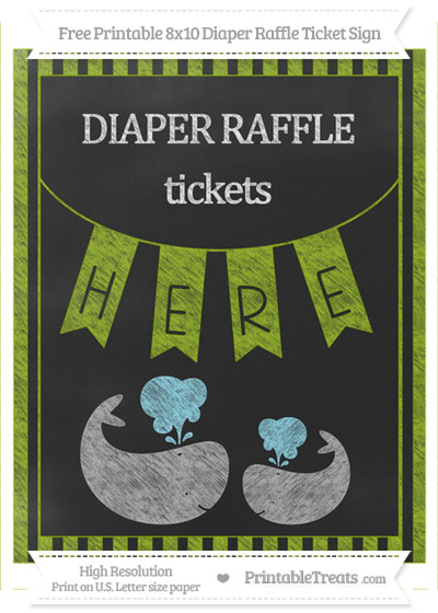 Free Apple Green Striped Chalk Style Baby Whale 8x10 Diaper Raffle Ticket Sign