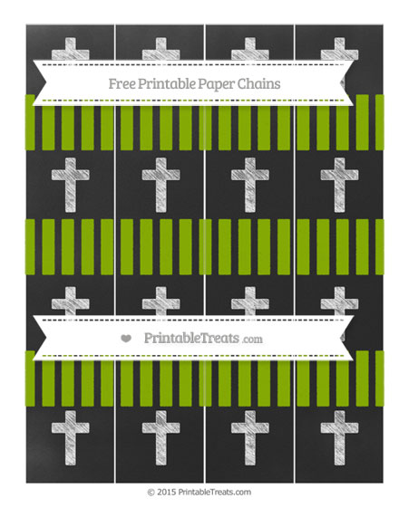 Free Apple Green Striped Chalk Style Cross Paper Chains