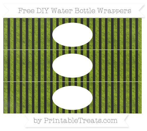 Free Apple Green Striped Chalk Style DIY Water Bottle Wrappers