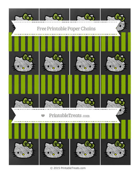 Free Apple Green Striped Chalk Style Hello Kitty Paper Chains