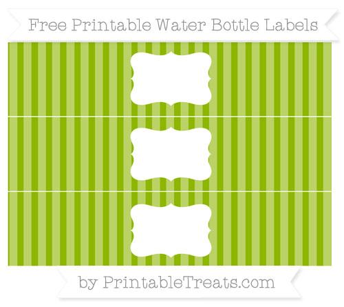 Free Apple Green Striped Water Bottle Labels