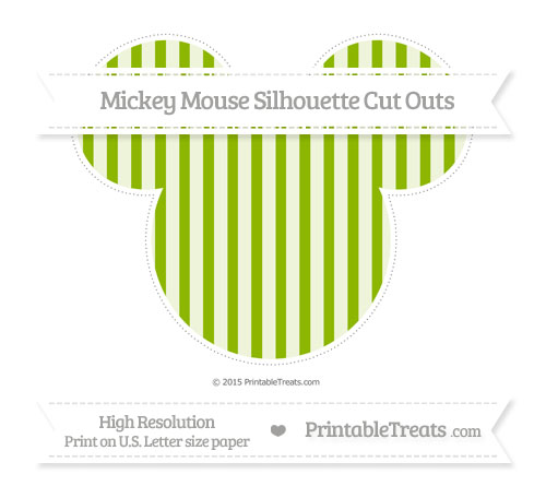 Free Apple Green Striped Extra Large Mickey Mouse Silhouette Cut Outs
