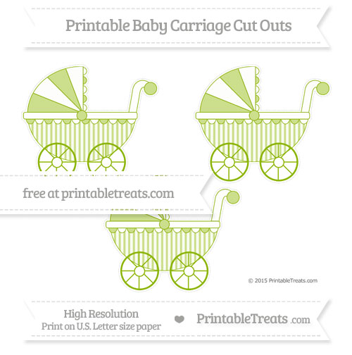 Free Apple Green Striped Medium Baby Carriage Cut Outs