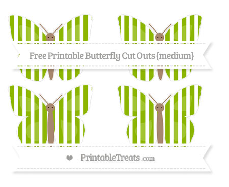 Free Apple Green Striped Medium Butterfly Cut Outs