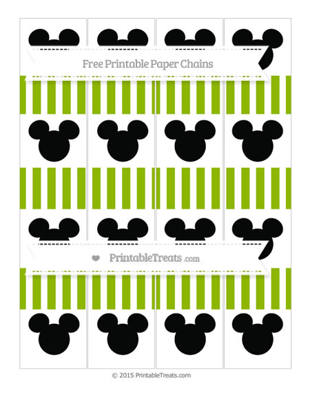 Free Apple Green Striped Mickey Mouse Paper Chains