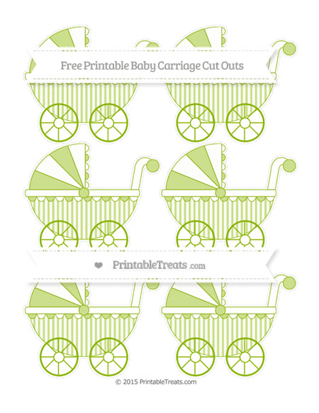 Free Apple Green Striped Small Baby Carriage Cut Outs