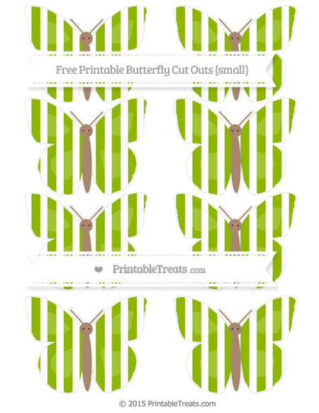 Free Apple Green Striped Small Butterfly Cut Outs