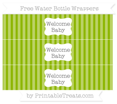 Free Apple Green Striped Welcome Baby Water Bottle Wrappers