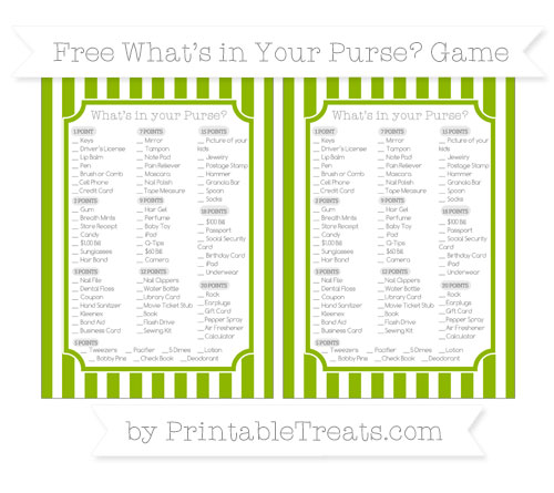 Free Apple Green Striped What's in Your Purse Baby Shower Game