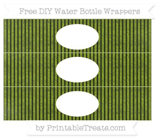Free Apple Green Thin Striped Pattern Chalk Style DIY Water Bottle Wrappers