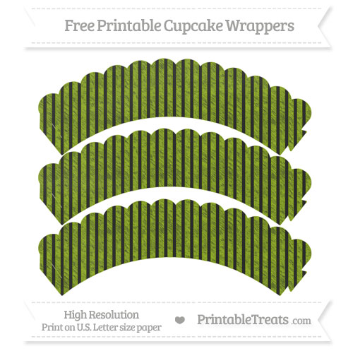 Free Apple Green Thin Striped Pattern Chalk Style Scalloped Cupcake Wrappers