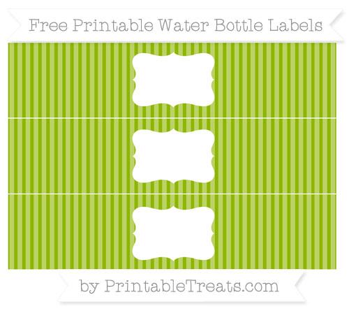 Free Apple Green Thin Striped Pattern Water Bottle Labels