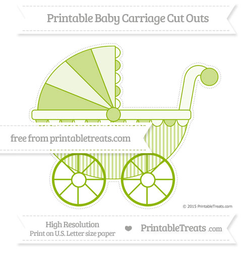 Free Apple Green Thin Striped Pattern Extra Large Baby Carriage Cut Outs