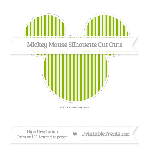 Free Apple Green Thin Striped Pattern Extra Large Mickey Mouse Silhouette Cut Outs