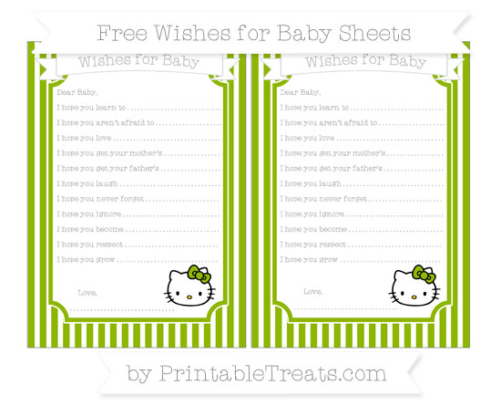 Free Apple Green Thin Striped Pattern Hello Kitty Wishes for Baby Sheets