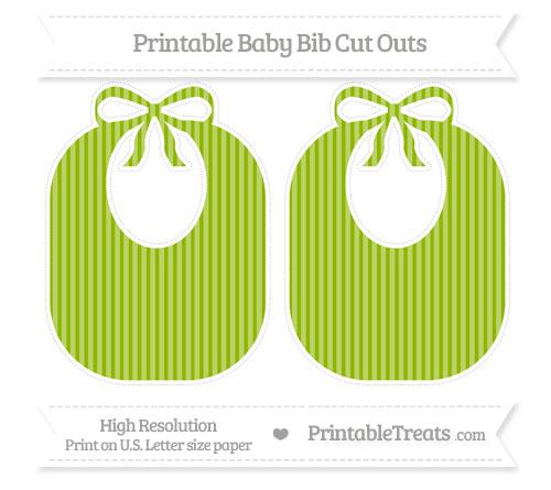 Free Apple Green Thin Striped Pattern Large Baby Bib Cut Outs