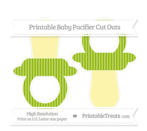 Free Apple Green Thin Striped Pattern Large Baby Pacifier Cut Outs