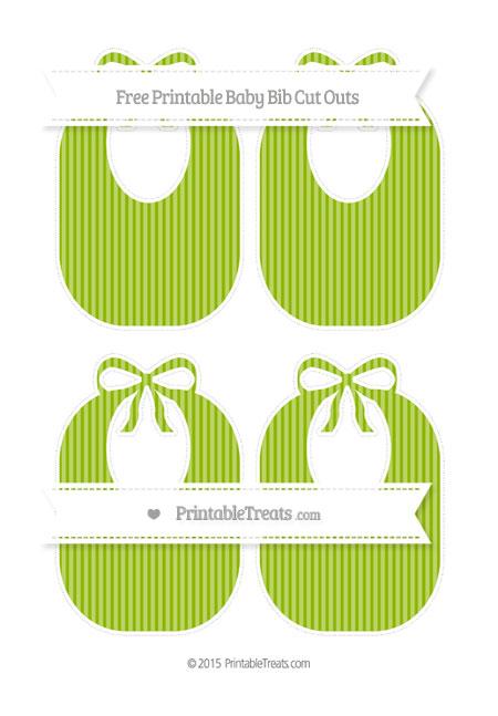Free Apple Green Thin Striped Pattern Medium Baby Bib Cut Outs