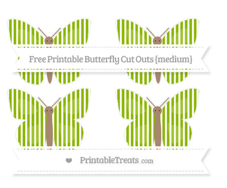 Free Apple Green Thin Striped Pattern Medium Butterfly Cut Outs