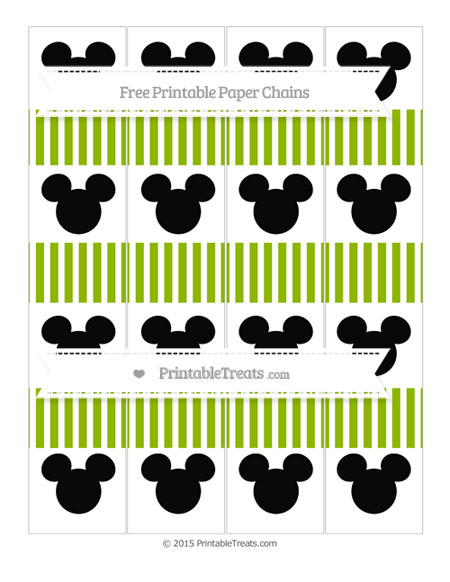 Free Apple Green Thin Striped Pattern Mickey Mouse Paper Chains