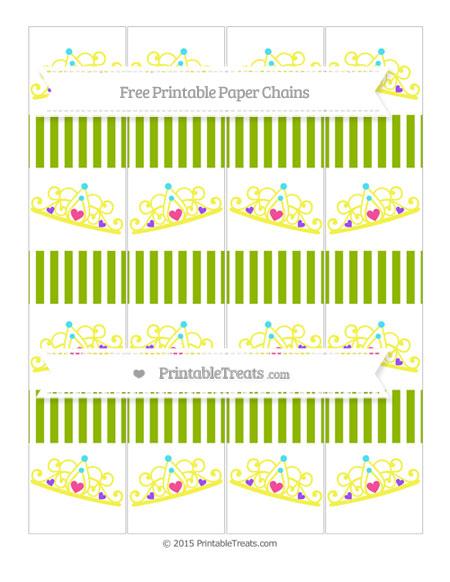 Free Apple Green Thin Striped Pattern Princess Tiara Paper Chains