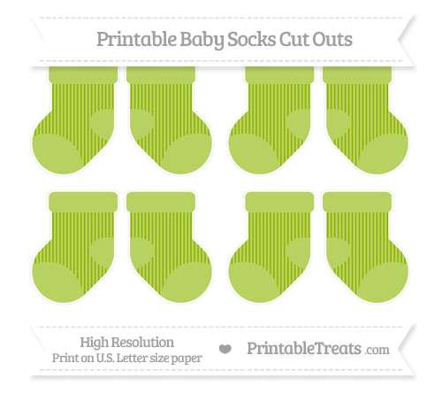 Free Apple Green Thin Striped Pattern Small Baby Socks Cut Outs