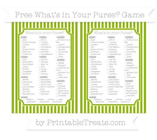 Free Apple Green Thin Striped Pattern What's in Your Purse Baby Shower Game