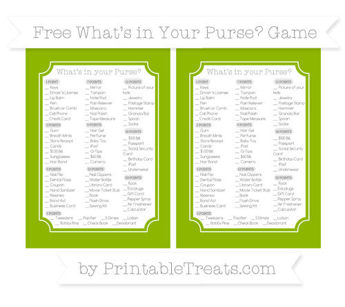 Free Apple Green What's in Your Purse Baby Shower Game