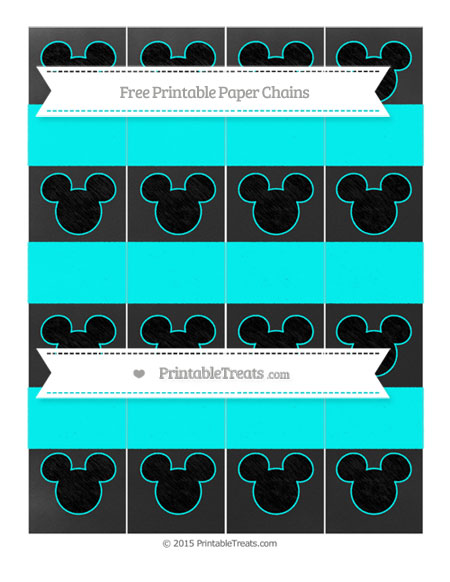 Free Aqua Blue Chalk Style Mickey Mouse Paper Chains