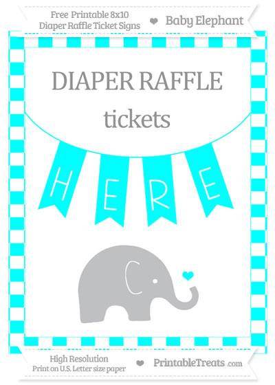 Free Aqua Blue Checker Pattern Baby Elephant 8x10 Diaper Raffle Ticket Sign