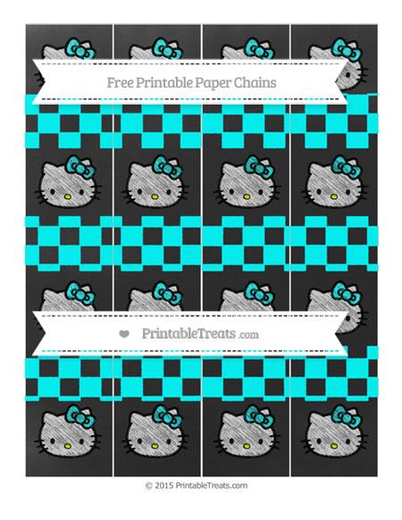 Free Aqua Blue Checker Pattern Chalk Style Hello Kitty Paper Chains