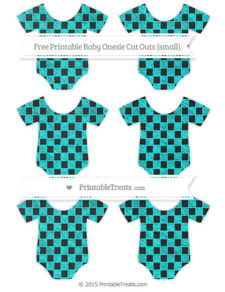 Free Aqua Blue Checker Pattern Chalk Style Small Baby Onesie Cut Outs