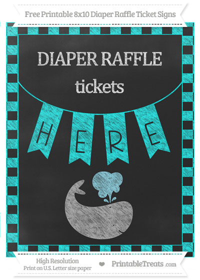 Free Aqua Blue Checker Pattern Chalk Style Whale 8x10 Diaper Raffle Ticket Sign