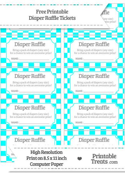 Free Aqua Blue Checker Pattern Diaper Raffle Tickets