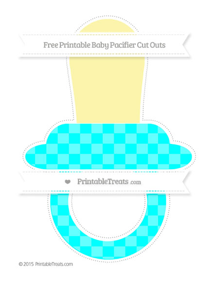 Free Aqua Blue Checker Pattern Extra Large Baby Pacifier Cut Outs