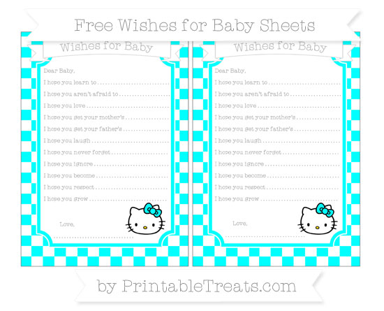 Free Aqua Blue Checker Pattern Hello Kitty Wishes for Baby Sheets