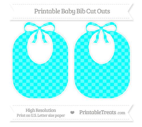 Free Aqua Blue Checker Pattern Large Baby Bib Cut Outs