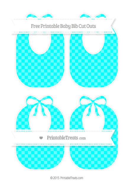 Free Aqua Blue Checker Pattern Medium Baby Bib Cut Outs