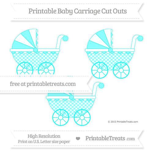 Free Aqua Blue Checker Pattern Medium Baby Carriage Cut Outs
