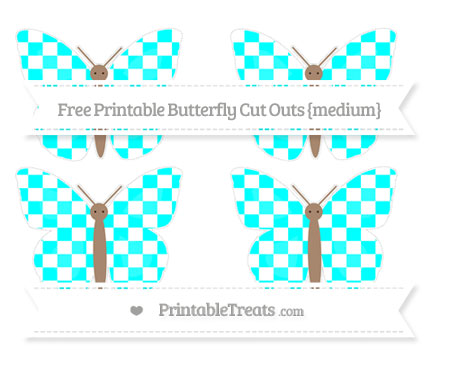 Free Aqua Blue Checker Pattern Medium Butterfly Cut Outs