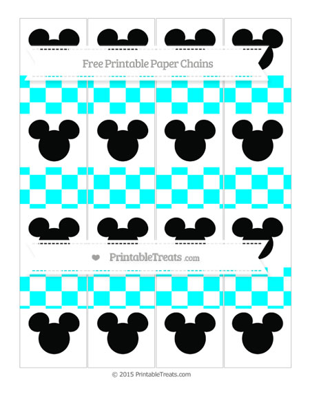 Free Aqua Blue Checker Pattern Mickey Mouse Paper Chains