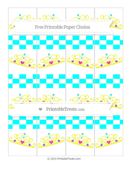 Free Aqua Blue Checker Pattern Princess Tiara Paper Chains
